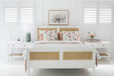 Solid Timber Bed - Rattan panels - King Size  - White