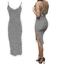 Plus Size Striped Sleeveless Stretch, Bodycon Dresses for Women