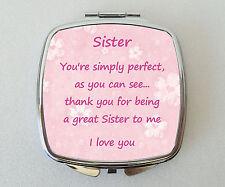 SISTER Compact Mirror Fun Handbag Beauty Cosmetic Makeup Novelty Gift Thank you