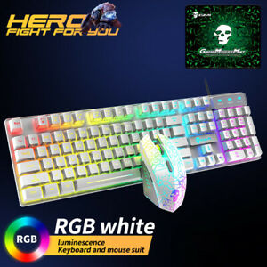 Cool wired gaming keyboard and mouse set RGB backlit PC gamer with mouse pad