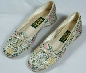 Vintage Daniel Green Lotus Slipper Floral Brocade Tapestry House Shoes Sz 6