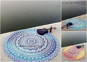 Indien Ombre Mandala Rond Tapis de Plage Coton Tapisserie Boho Hippie Nappe