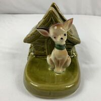 "Vintage Shawnee USA Pottery Planter Chihuahua Dog Green Dog House 7.5"" Length"
