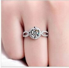 2 ct white gold plated cubic zirconia fake engagement wedding tester love ring