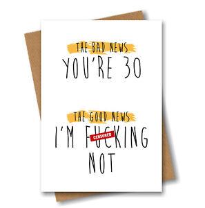 Funny Rude 30th Birthday Card - Cheeky Banter for Him Her Best Friend Boyfriend