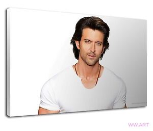 Sexy Hrithik Roshan portrait in white T shirt Canvas Wall Art Picture Print