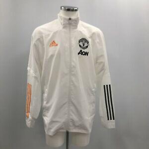 Manchester United Adidas Windbreaker Jacket White Size Large Men's Zipped 190629