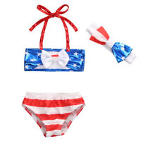 NWT Girls Patriotic 4th of July Bikini Swimsuit Bathing Suit & Bow Headband Set