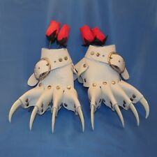 White Wedding Leather White Claw Gauntlets Gothic Gloves