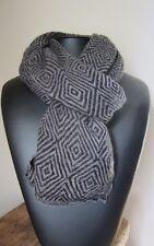 Echarpe Homme Noir/Gris Motif Géométrique 70% Cachemire 30% laine 53x188 cm