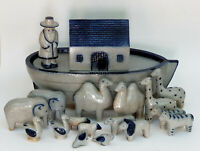NOAH'S ARK 1986 SIGNED D. ELDRETH COBALT BLUE SALT GLAZED POTTERY 17 pcs FIGURES
