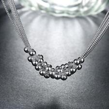 Halskette Silberkette Damen Sterlingsilber pl. 925 Perlen Kugeln 46cm k13a