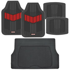 Motor Trend FlexTough 2-Tone Rubber Floor Mats 5 PC Set - Red for Car SUV Auto