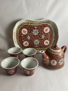 Vintage Chinese Porcelain Tea Pot Set and Tray Hand Painted Red Roselin