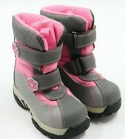 The Children's Place Youth Girls'Gray Pink Top Straps Snow Winter Boots  Size 8