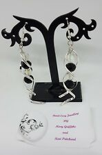 hand-made drop/dangle earrings - black/AB white ribbon- girls/ladies