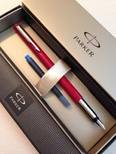 PARKER VECTOR RED CHROME TRIM MEDIUM ITALIC FOUNTAIN PEN-GIFT BOX-NEW OLD STOCK