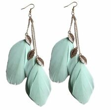 Boho Festival Party Boutique Luxury Uk Mint Green Gold Leaf Feather Earrings