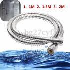 1m/1.5m/2m Stainless Steel Bathroom Flexible Shower Hose 1/2'' Water Head Pipe