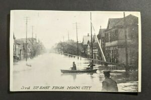 Vintage 3rd Street from Miami City Great Flood Dayton OH Picture Postcard
