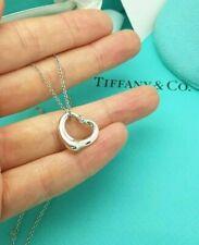 """Tiffany & Co Elsa Peretti Aquamarine 16 mm Open Heart Silver 16"""" Necklace"""