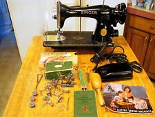 Vtg 1949 Singer Sewing Machine 15-91 Heavy Duty Gear Drive Manual & Accessorie