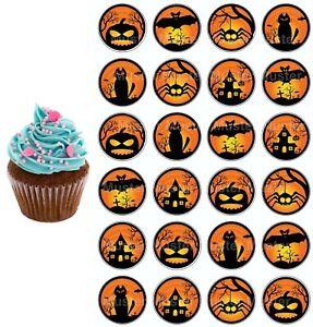 Halloween eßbar Torten-Bild-Aufleger Party Deko Geburtstag Cupcake Spinne Kürbis