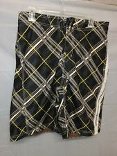 Speedo Men's Brown Plaid Swim Trunks Board Shorts Size M
