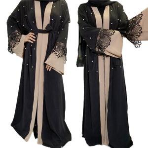 Open Abaya Dubai Kimono Jilbab Kaftan Muslim Women Long Maxi Dress Cardigan Gown