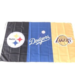 Pittsburgh Steelers LA Lakers Dodgers Flag Banner 3x5 Ft Sports NFL NBa MLB