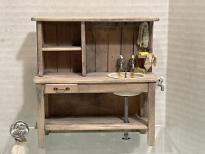 Artisan MARQUIS '18 Rustic Sink Cabinet Soaps Towels Dollhouse Miniature 1:12