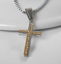 Zilar Halskette Kreuz 45 cm bicolor gold und silber Edelstahl 304