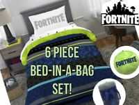 LICENSED FORTNITE Neon Reversible TWIN Comforter Blanket BED IN BAG 6 PC SET