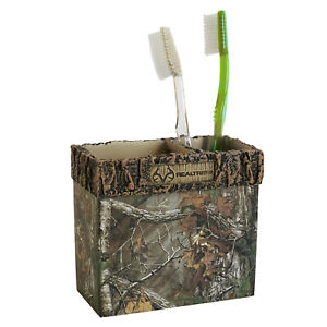Realtree Xtra Tooth Brush Holder Resin Camouflage Rustic Country Mountain Cabin