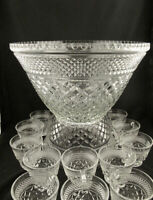 Vintage Wexford Glass Punch Bowl Set - 18 cups, Hooks & Ladle By Anchor Hocking
