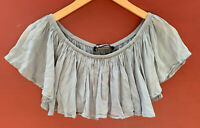 Reformation XS Crop Top Ruffled Blue Shirt Scoop Neck Blouse