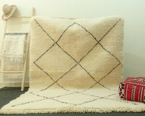 Rug Beni Ourain, Moroccan Shag Rug, Handmade, 100% Wool Rug Berber Beni Ouarain