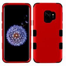 SAMSUNG galaxy S9 red & black 3 layer hybrid case USA SELLER