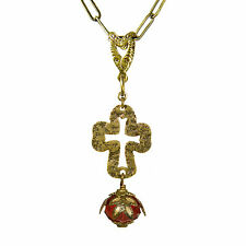 Sanctuary Cross No Monet Necklace Gold Red Cream Crystal Hand Crafted in USA