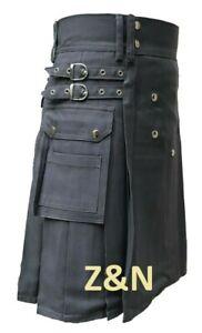 "Brand New Men's Grey Cotton Utility Kilt, Sizes From 30"" - 50"""