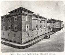 Milano: il Castello Sforzesco. Lombardia. Stampa Antica + Passepartout. 1894
