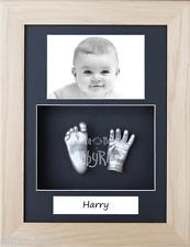 New Baby Handprint Footprint Hand Feet 3D Casting Kit Solid Oak Box Frame Silver