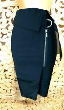UK 10 Karen Millen Black Front Zip Fold Top Office Work Pencil Skirt