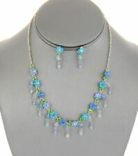 Crystal Charm and Flower Necklace Set