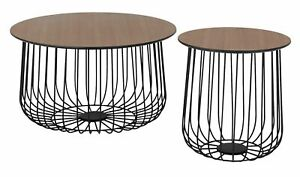 Style Habitat Wire Frame Bird Cage Coffee and Side Table Set Of 2.