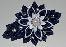 Handmade Girl's/Ladies French Barrette Hair Clip in Navy&White, Kanzashi