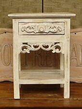 comodino con un cassetto in legno di albesia decorato  40 x 40 x H 50 etnico