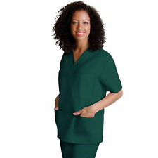 Scrub Top V Neck 3 Pocket M Adar Uniforms Hunter Green Solid Nurses 601 Unisex