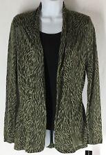 INC International Concepts Native Zebra Palm Open Front Shirt Top Jacket Size S