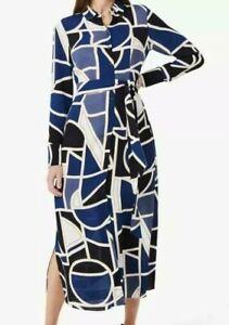 Hobbs Nadine Abstract Geo Midi Shirt Dress, Blue/Multi sizes 6-18